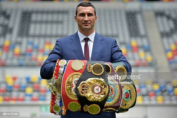 Wladimir Klitschko poses on the pitch after a press conference at EspritArena on July 21 2015 in Duesseldorf Germany