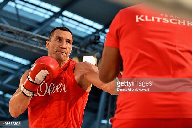 Wladimir Klitschko practices during a Media Training Session at Dusseldorf Airport on November 25 2015 in Duesseldorf Germany