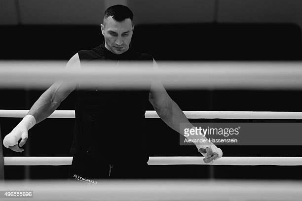 Wladimir Klitschko prepares himself for a training session at Hotel Stanglwirt on November 10 2015 in Going Austria The Heavyweight title clash...