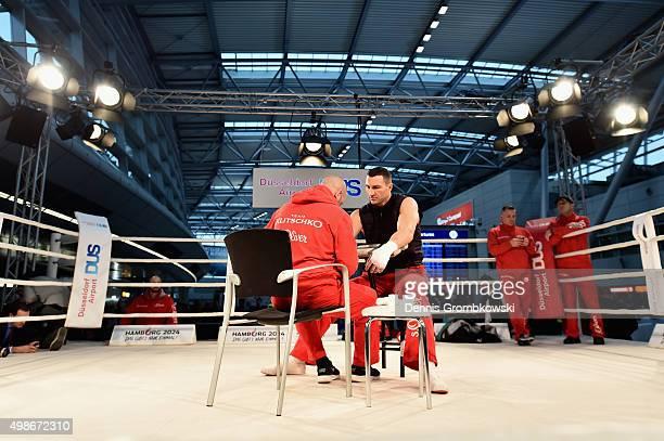 Wladimir Klitschko prepares prior to a Media Training Session at Dusseldorf Airport on November 25 2015 in Duesseldorf Germany