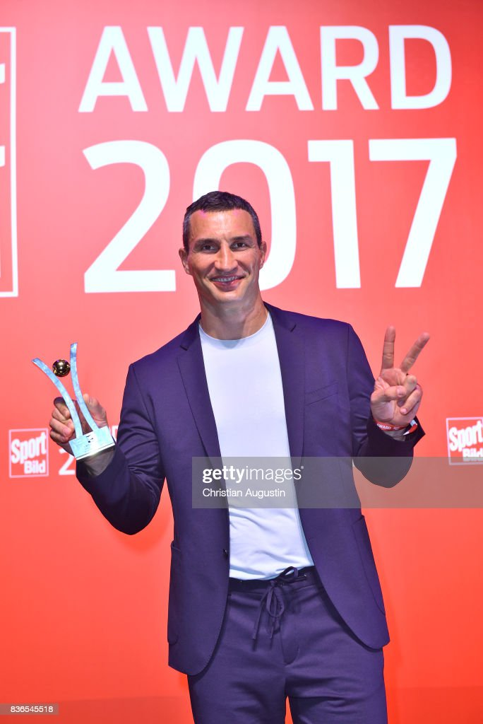 Wladimir Klitschko wins the Idol of The Year award during the Sport Bild Award on August 21, 2017 in Hamburg, Germany.