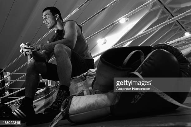 Wladimir Klitschko with his brother Vitali Klitschko during a trining session at Hotel Stanglwirt on January 31 2012 in Going Austria Vitali...