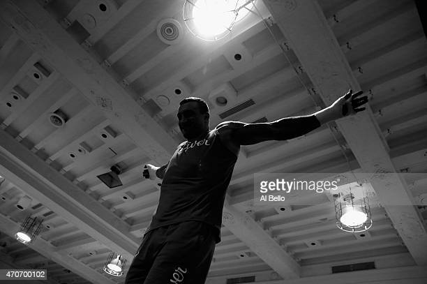 Wladimir Klitschko works out at Jordan Brand's Terminal 23 on April 22 2015 in New York City Wladimir Klitschko will fight Bryant Jennings for the...