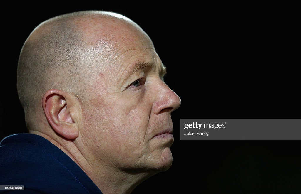 Wocester coach, <a gi-track='captionPersonalityLinkClicked' href=/galleries/search?phrase=Richard+Hill+-+Rugby+Union+Coach&family=editorial&specificpeople=15808873 ng-click='$event.stopPropagation()'>Richard Hill</a> looks on during the Aviva Premiership match between Worcester Warriors and Leicester Tigers at Sixways Stadium on January 4, 2013 in Worcester, England.