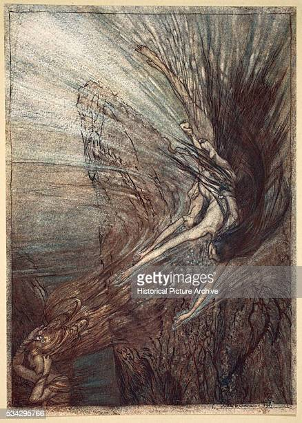 'Woglinde Wellgunde and Flosshilde the three River goddesses who keep the treasure play in the Rhine Illustration by Arthur Rackham from ''The...