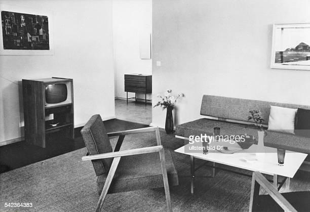 Wohnzimmereinrichtung 1957Interbau Haus Alvar AaltoMbel Von Knoll InternationalFernsehgert Braun FSG