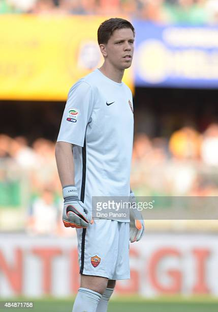 Wojciech Szcesny goalkeeper if AS Rima looks on during the Serie A match between Hellas Verona FC and AS Roma at Stadio Marc'Antonio Bentegodi on...