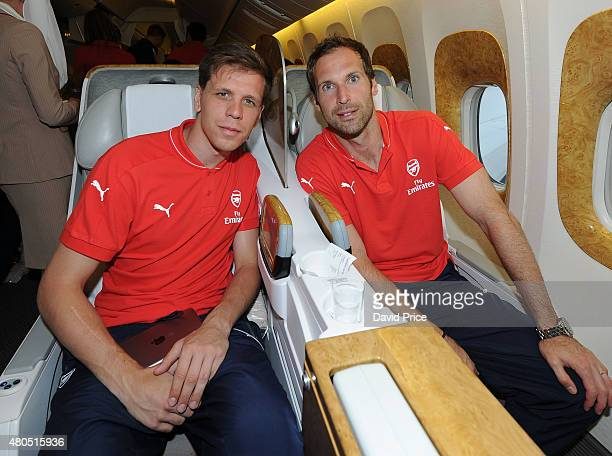Wojciech Szczesny and Petr Cech of Arsenal on the Emirates plane at Stansted Airport on July 12 2015 in London England