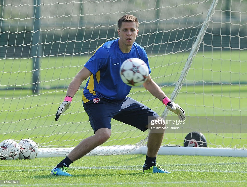 Wojciech Szczesny of Arsenal during a training session ahead of their UEFA Champions League Play Off second leg match against Fenerbache at London Colney on August 26, 2013 in St Albans, England.