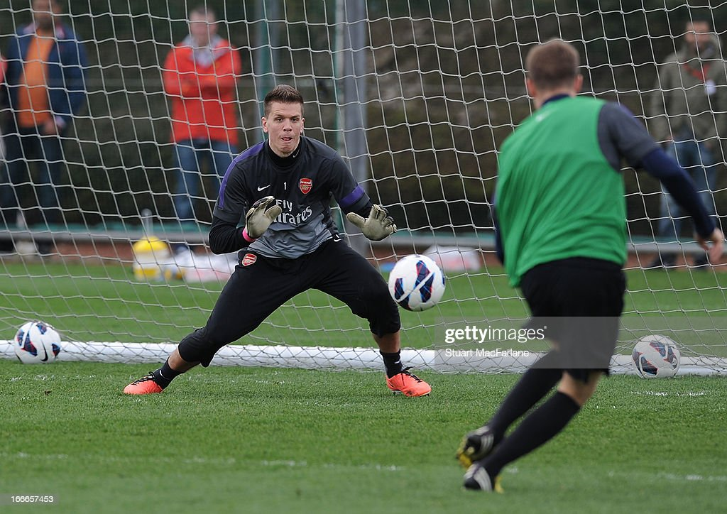 Wojciech Szczesny of Arsenal during a training session at London Colney on April 15, 2013 in St Albans, England.