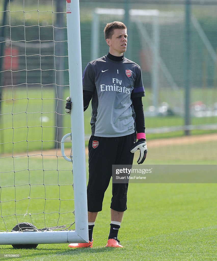 Wojciech Szczesny of Arsenal during a training session at London Colney on April 26, 2013 in St Albans, England.