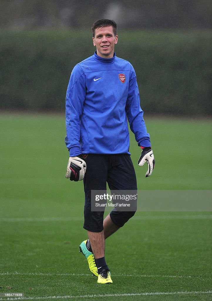 Wojciech Szczesny of Arsenal during a training session at London Colney on October 21, 2013 in St Albans, England.
