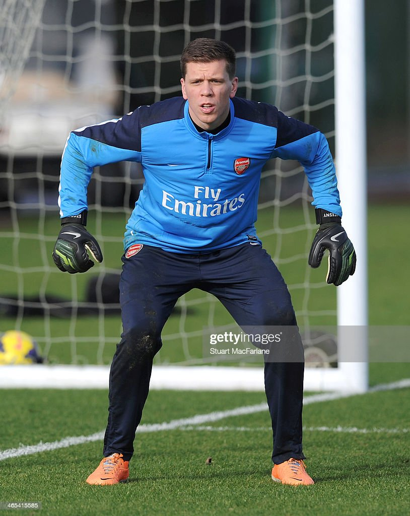 Wojciech Szczesny of Arsenal during a training session at London Colney on January 27, 2014 in St Albans, England.