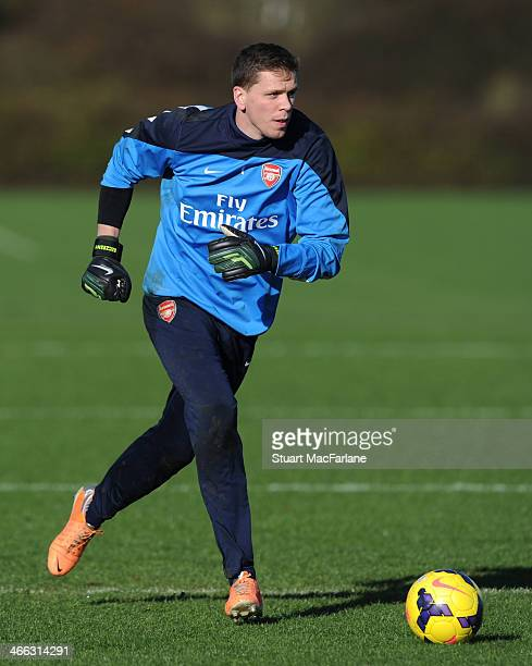 Wojciech Szczesny of Arsenal during a training session at London Colney on February 1 2014 in St Albans England