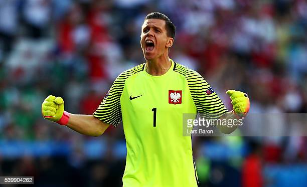 Wojciech Szczesny of Poland celebrates his team's first goal during the UEFA EURO 2016 Group C match between Poland and Northern Ireland at Allianz...