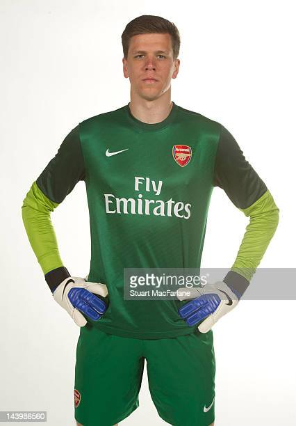 Wojciech Szczesny poses during a photoshoot for the new Arsenal home kit for season 2012/13 at London Colney on April 5 2012 in St Albans England