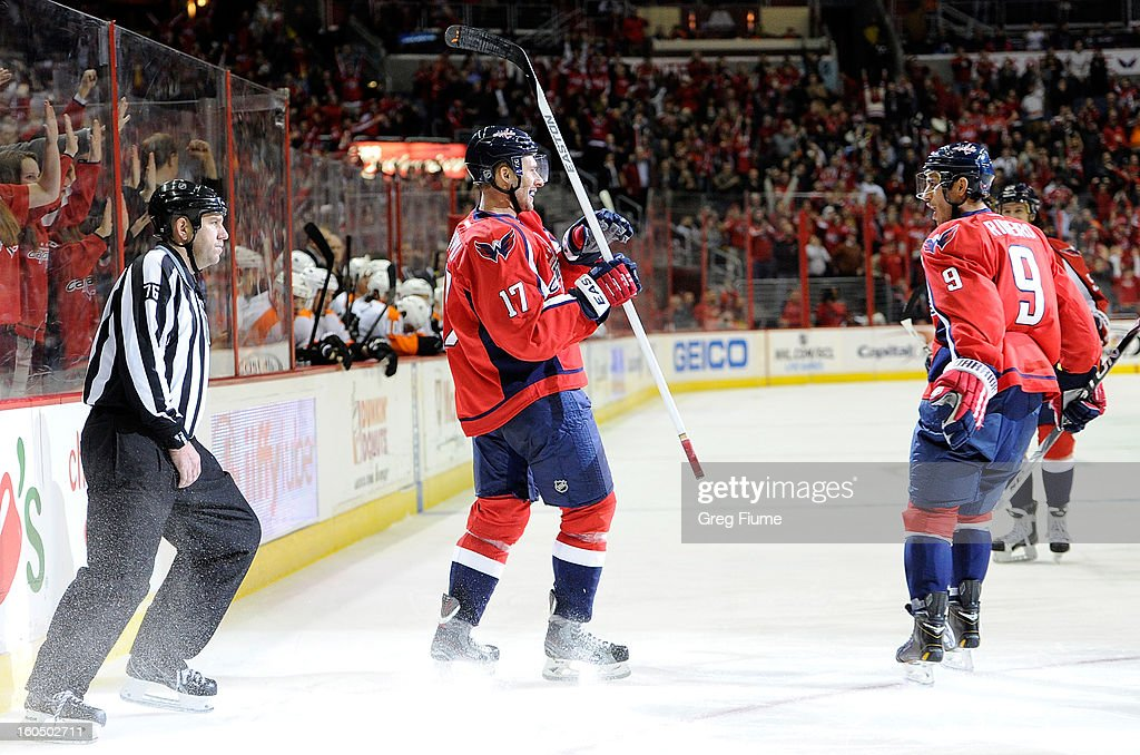 <a gi-track='captionPersonalityLinkClicked' href=/galleries/search?phrase=Wojtek+Wolski&family=editorial&specificpeople=240466 ng-click='$event.stopPropagation()'>Wojtek Wolski</a> #17 of the Washington Capitals celebrates with <a gi-track='captionPersonalityLinkClicked' href=/galleries/search?phrase=Mike+Ribeiro&family=editorial&specificpeople=203275 ng-click='$event.stopPropagation()'>Mike Ribeiro</a> #9 after scoring in the third period against the Philadelphia Flyers at the Verizon Center on February 1, 2013 in Washington, DC. Washington won the game 3-2.