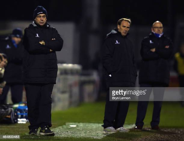Woking FC Manager Garry Hill looks on during the Skrill Conference Premier match between Woking and Chester at the Kingfield Stadium on January 21...