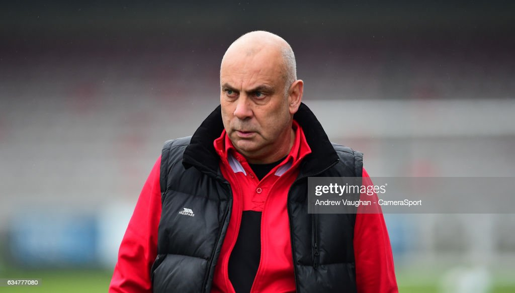Woking manager Garry Hill during the Vanarama National League match between Lincoln City and Woking at Sincil Bank Stadium on February 11, 2017 in Lincoln, England.