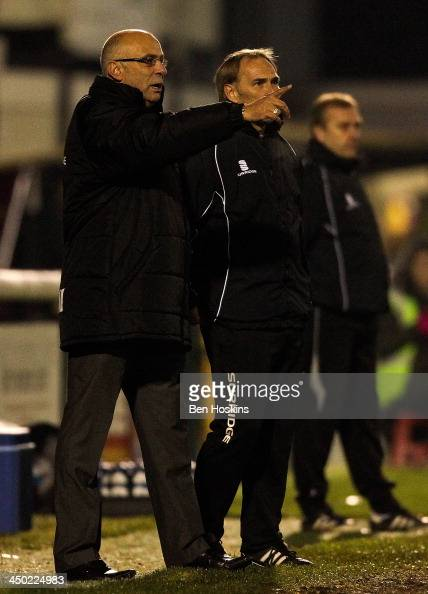 Woking manager Gary Hill gives instructions during the Skrill Conference Premier League match between Woking and Dartford at the Kingfield Stadium on...