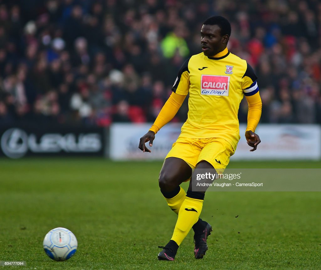 Woking's Ismail Yakubu during the Vanarama National League match between Lincoln City and Woking at Sincil Bank Stadium on February 11, 2017 in Lincoln, England.