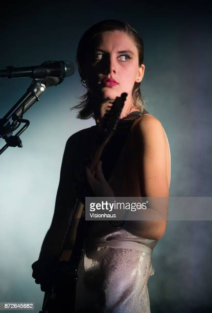 Wolf Alice lead singer Ellie Rowsell performs with the band at the O2 Apollo Manchester on November 9 2017 in Manchester England