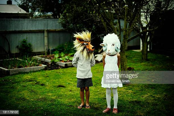 Wolf and sheep mask worn by childrens