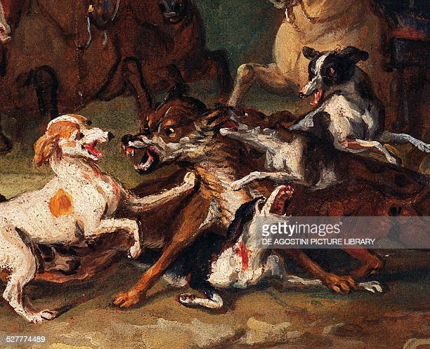 Wolf hunting 17201723 detail from the study by AlexandreFrancois Desportes oil on cardboard 27x39 cm France 18th century Sevres Musée National De...