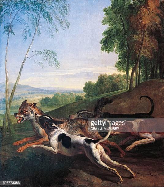 Wolf hunting painting by AlexandreFrancois Desportes France 17th century Paris Musée De La Chasse Et De La Nature