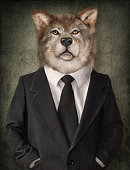 Wolf in a suit. Man with a head of lion. Concept graphic in vintage style.