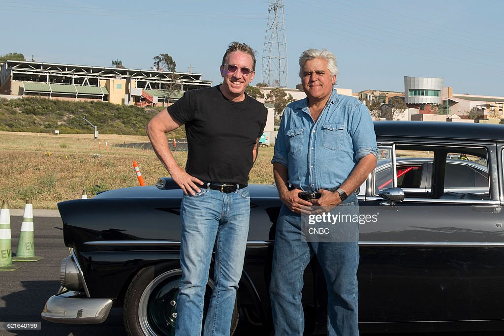 S GARAGE -- 'Wolf in Sheep's Clothing' Episode 206 -- Pictured: (l-r) Tim Allen, Jay Leno --
