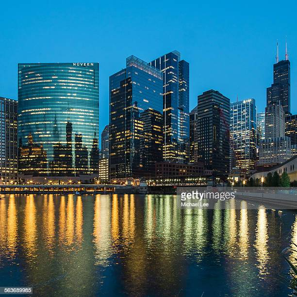 Wolf Point Chicago river night view