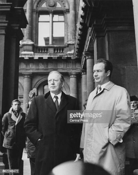 Wolf Rudiger Hess the son of Nazi politician Rudolf Hess arrives at the Foreign Office in London with MP Airey Neave to discuss the possibility of...