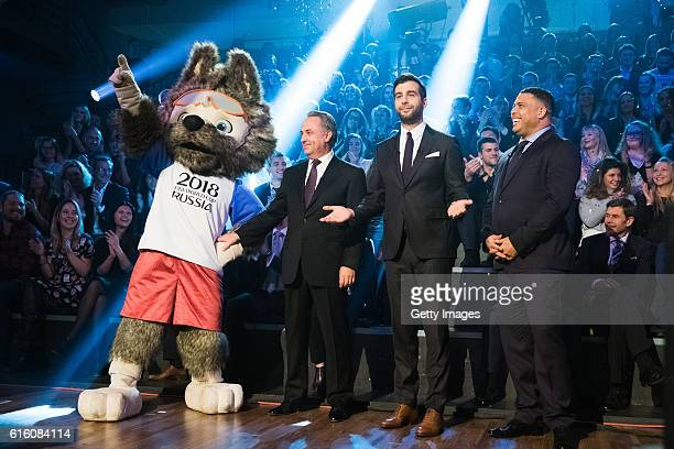 Wolf the winer of FIFA 2018 World Cup Russia Official Mascot Deputy Prime Minister of the Russian Federation Vitaly Mutko TV host Ivan Urgant and...