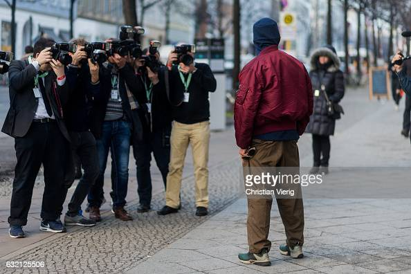 Wolfang Joop posing for a group of photographers outside Vladimir Karaleev during the MercedesBenz Fashion Week Berlin A/W 2017 at Kaufhaus Jandorf...