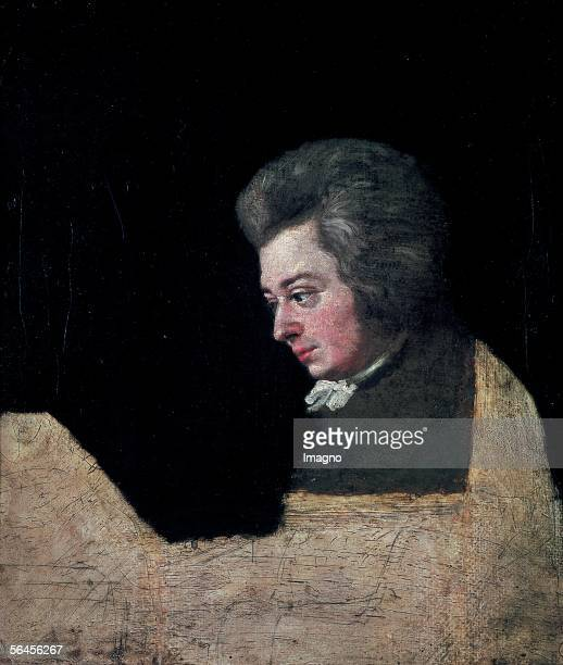 Wolfgang Amadeus Mozart at the piano The last incomplete portrait of Wolfgang Amadeus Mozart Oil on Canvas by Lange Joseph 1782/83 [Wolfgang Amadeus...