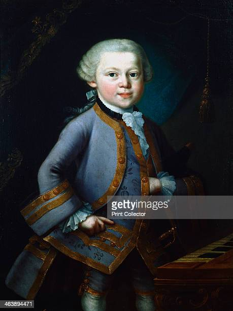 Wolfgang Amadeus Mozart Austrian composer 1761 Mozart a child prodigy depicted aged 7 in gala dress standing by a keyboard