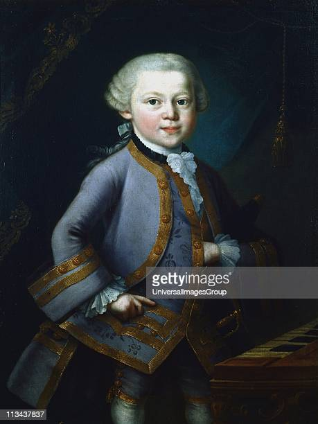 Wolfgang Amadeus Mozart Austrian composer Mozart aged 7 in gala dress standing by keyboard Anonymous Mozarteum Salzburg