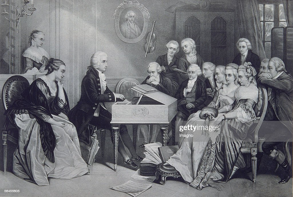 <a gi-track='captionPersonalityLinkClicked' href=/galleries/search?phrase=Wolfgang+Amadeus+Mozart&family=editorial&specificpeople=79910 ng-click='$event.stopPropagation()'>Wolfgang Amadeus Mozart</a>, Austrian composer. Woodcuts according to a painting. Printed by A. Hoelzer, Berlin. Publishing House: Moeser & Scherl, Berlin. Around 1785. (Photo by Imagno/Getty Images) [<a gi-track='captionPersonalityLinkClicked' href=/galleries/search?phrase=Wolfgang+Amadeus+Mozart&family=editorial&specificpeople=79910 ng-click='$event.stopPropagation()'>Wolfgang Amadeus Mozart</a>, oesterreichischer Komponist. Hauskonzert bei Wolfgang Amadeus und <a gi-track='captionPersonalityLinkClicked' href=/galleries/search?phrase=Constanze+Mozart&family=editorial&specificpeople=1016439 ng-click='$event.stopPropagation()'>Constanze Mozart</a> in Wien. Holzschnitt nach einem Gemaelde. Druck von A. Hoelzer in Berlin. Verlag von Moeser & Scherl in Berlin. Um 1785.]