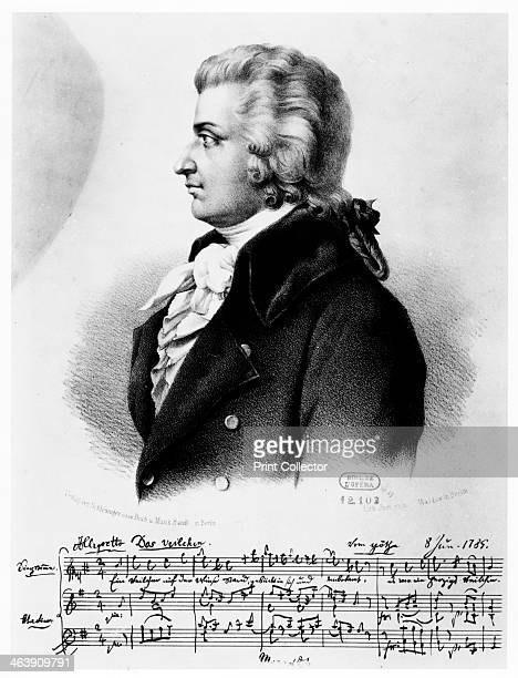 Wolfgang Amadeus Mozart c1790 The music below the portrait is the beginning of his song Das Veilchen dated 8 June 1789