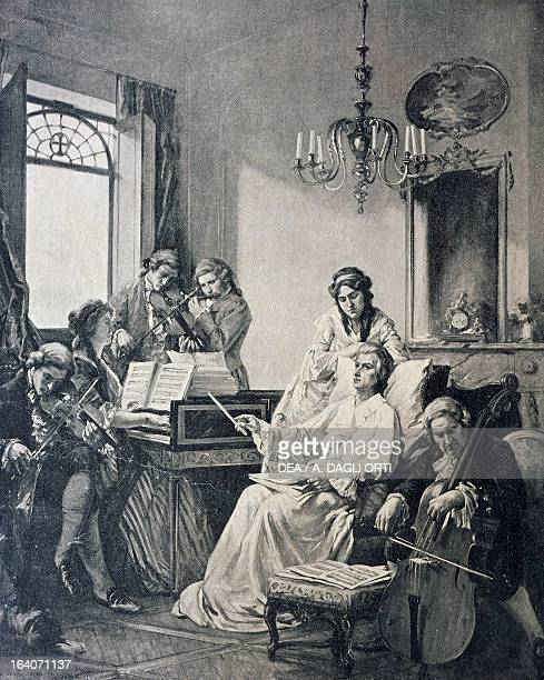 Wolfgang Amadeus Mozart in his last days conducting a group of musicians for the Requiem which he managed to complete before his death Vienna...