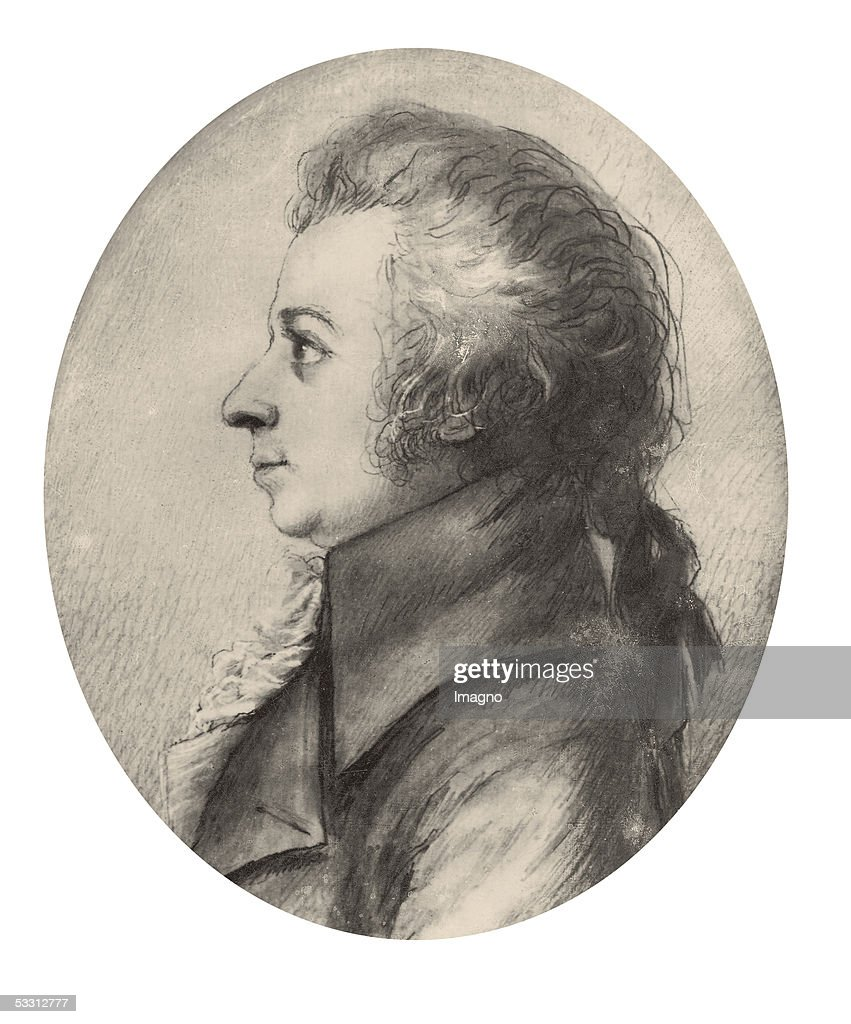 Wolfgang Amadeus Mozart Silver Point Painting by Doris Stock April 1789 [Wolfgang A Mozart SilberstiftZeichnung von Doris Stock April 1789]