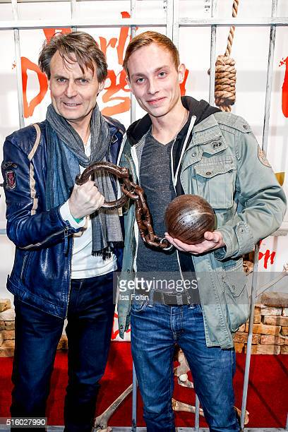 Wolfgang Bahro and his son David Bahro attend the Premiere Of 'Exitus' FreefallTowers At Berlin Dungeon on March 16 2016 in Berlin Germany