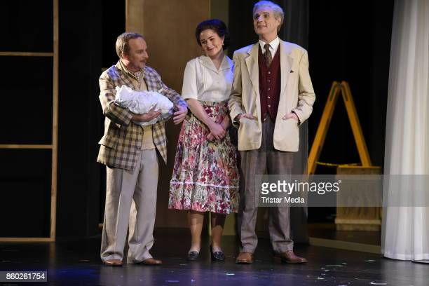 Wolfgang Bahro Karsten Kramer and Elinor Eidt perform during the rehearsal photocall for the play 'Ein gewisser Charles Spencer Chaplin' at...