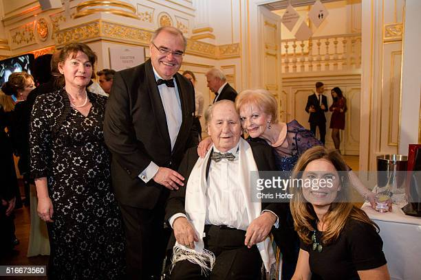Wolfgang Brandstetter with his wife Christine Sarah Wiener and Karl Spiehs attend Karl Spiehs 85th birthday celebration on March 19 2016 in Vienna...