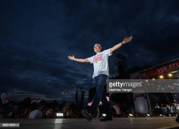 Wolfgang Dietrich President of VfB Stuttgart celebrates at the stage of the FanParty after winning the 2 Second Bundesliga Championship title after...