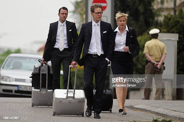 Wolfgang Heer Wolfgang Stahl and Anja Sturm who are the lawyers representing defendant Beate Zschaepe arrive at the Oberlandesgericht...