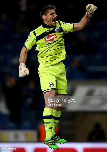 Wolfgang Hesl of Bielefeld celebrates during the Second Bundesliga match between Arminia Bielefeld and MSV Duisburg at Schueco Arena on February 8...