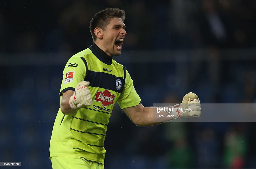 Wolfgang Hesl of Bielefeld celebrates during the Second Bundesliga match between Arminia Bielefeld and MSV Duisburg at Schueco Arena on February 8, 2016 in Bielefeld, Germany.