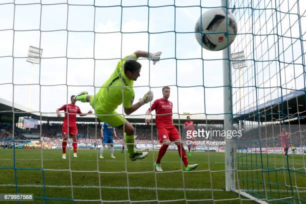 Wolfgang Hesl of Bielefeld gets the first goal of Selim Guenduez of Bochum during the Second Bundesliga match between VfL Bochum 1848 and DSC Arminia...